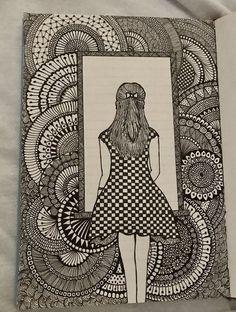 Mandala Art Lesson, Mandala Artwork, Mandala Drawing, Doodle Art Drawing, Art Drawings Sketches Simple, Girly Drawings, Zentangle Drawings, Zentangles, African Art Paintings