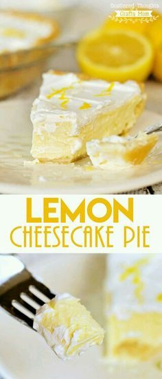 This Lemon Cheesecake Pie dessert recipe is perfect for lemon lovers- so sweet, lemony and creamy, with just a tiny bit of tartness- yum! Plus it is so much easier to make than a traditional cheesecake. Lemon Desserts, Lemon Recipes, Just Desserts, Sweet Recipes, Easy Pie Recipes, Cooking Recipes, Cheesecake Pie, Cheesecake Recipes, Best Lemon Cheesecake Recipe