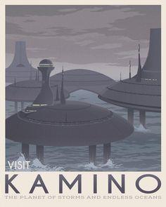 Kamino planet, Star wars retro travel, Boba Fett art, Jango fett illustration, Clone wars, Aquatic planet storm, Bounty hunter, Obi wan