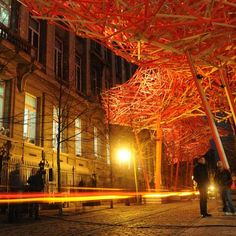 Belgian artist Arne Quinze has created an installation called The Sequence outside the Flemish Parliament in Brussels, Belgium.
