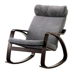 POÄNG  Rocking chair, black-brown, Lockarp gray  $299.00