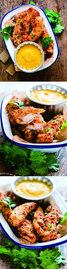 Baked Coconut Chicken Tenders With Mango Mustard Sauce - baked, chicken, coconut, healthy, milk, recipes, rice