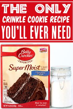 Chocolate Crinkle Cookies Recipe - Easy Christmas Cookie! These rich, chocolatey cookies covered in sweet powdered sugar are soft, chewy, and completely irresistible! Plus, thanks to the cake mix shortcut... they're ridiculously EASY to make! Go grab the recipe and give them a try this week! Cake Mix Cookie Recipes, Cake Mix Cookies, Best Cookie Recipes, Baking Recipes, 4 Ingredient Desserts, 4 Ingredient Cookies, Chocolate Crinkle Cookies, Chocolate Crinkles, Christmas Desserts