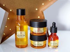 The Body Shop Oils Of Life. I swear by this collection!!