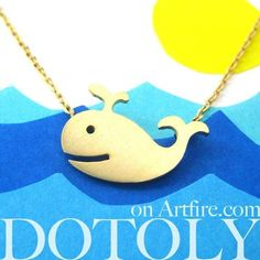 Happy Whale Pendant Necklace In Gold   Animal Jewelry