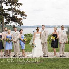 Blue Bridesmaid Dresses with khaki (linen) suits