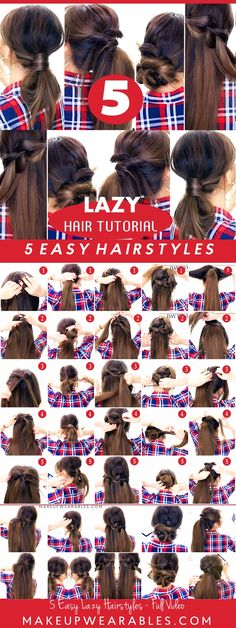 5 Lazy Easy Hairstyles for Long Medium Hair - Updos Braids