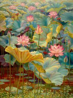 Bromeliads Lotus Painting