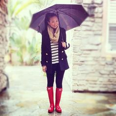 Pinterest - fashion style blooger outfit rainy day rain umbrella rainboots red hunters