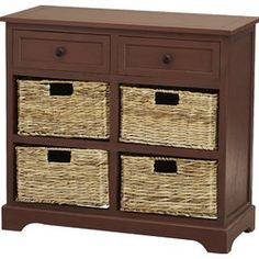 Two-drawer pine storage chest with four wicker baskets. Product: Storage chestConstruction Material: Pine wood and wickerColor: Dark cherryFeatures: Two drawers Four wicker baskets includedDimensions: H x W x D Drawer Storage Unit, Storage Baskets, Storage Chest, Basket Drawers, Wood Storage, Decorative Storage, Storage Shelves, Storing Blankets, Muebles Living