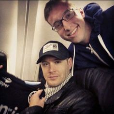 Jensen with a fan on a plan to Nashville