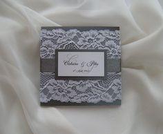 Wedding Invitation Lace Wedding Invitations Grey by JRTDaisy