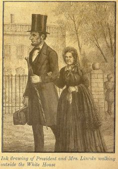 President Lincoln and Mary taking a stroll on the lawn in front of the White House .  . .  Christopher Bing illustrator