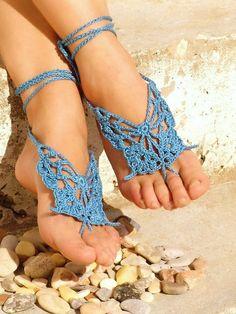 Handmade Blue Butterfly Barefoot Sandals