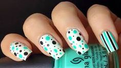 If you want a unique and stylish design, then consider polishing your nails with dots and stripes nail art design. Here are the best ideas for a joyful spring designs on your nails. Dot Nail Art, Nail Polish Art, Nail Polish Designs, Nail Art Designs, Aqua Nails, Polka Dot Nails, Striped Nails, Polka Dots, Cute Nails
