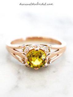 Natural 1 carat yellow sapphire & rose gold engagement ring.