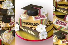 Cap and text book grad cake with a few feminine sugar paste flowers change social work to communications!