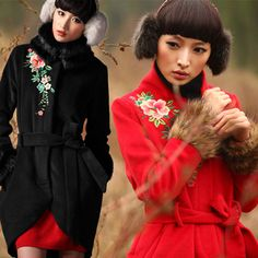 #Swanmarks Liebo New Separable Fur Collar Embroidery Wool Long Coat