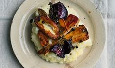 Roast roots and potato and apple mash.