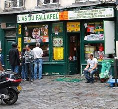 L'As Du Falafel Paris - photo by Cara Black - now I am missing their felafel, standing in line and then taking it back to the tiny hotel for a mid-day pick me up