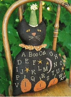 """Cross Stitch Pattern by Brenda Gervais (With Thy Needle) """"Black Cat Sampler"""" #WithThyNeedle #Pincushion"""