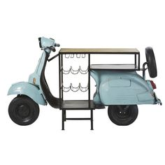 Travel to the heart of Asia with the SCOOTER Mango Wood and Metal Blue Bar straight from India! Car Part Furniture, Iron Furniture, Funky Furniture, Home Cocktail Bar, Shuffleboard Table, Bar Unit, Car Bar, Blue Bar, Dirt Bike Girl