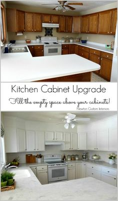 Kitchen Cabinet Upgrade from NewtonCustomInteriors.com.  Learn what we did with that awkward, empty space above the kitchen cabinets.