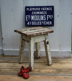 French Wooden Stool with Original Chippy Paint by Restored2bloved on Etsy
