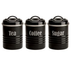 Tea Coffee And Sugar Kitchen Canister Set Black Enamel Steel Of 3