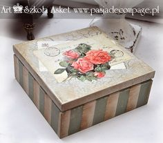 Resultado de imagem para decoupage box ideas – Food for Healty Decoupage Vintage, Decoupage Box, Cigar Box Crafts, Painted Wooden Boxes, Diy And Crafts, Paper Crafts, Altered Boxes, Doll Tutorial, Flower Fairies