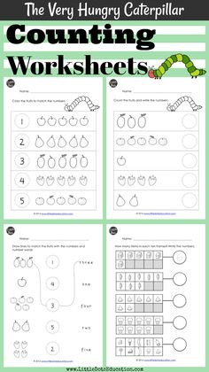 Download The Very Hungry Caterpillar math activities on numbers and counting for preschool, pre-k or kindergarten level.   Practice to count up to 10 and learn number words with these counting worksheets.  Visit www.littledotseducation.com for more preschool resources