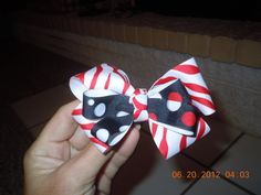 red zebra with dots bow