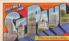 1940s Greetings from St. Paul, Minnesota- Unused Vintage Postcard