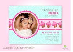 Cupcake Custom Photo Birthday Invitation  DIY by FrogPrincePaperie, $14.00