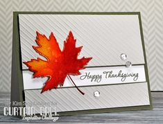Happy Thanksgiving Leaf from Joyful Creations with Kim.  Uses a poppystamps leaf die that has a thin border and an impression of the veins in the leaf.