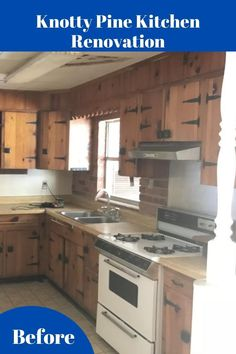 Photos of entire 1960's home renovation included. #knottypine #knotty Knotty Pine Cabinets, Home Renovation, Restoration, Kitchens, Photos, Pictures, Kitchen, Photographs, Home Kitchens