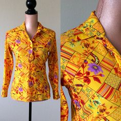 Retro Shirt 1970s Vintage Colorful Blouse by JacobandCharlies
