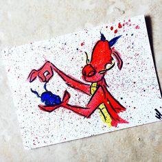 Small Mushu and the cricket in watercolor on a 5x7 card! #mushu #Mulan…
