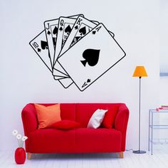 Vinilo decorativo Escalera de Color. Se trata de una Escalera Real, es decir, una Escalera de color al As, ideal para los amantes de póker.