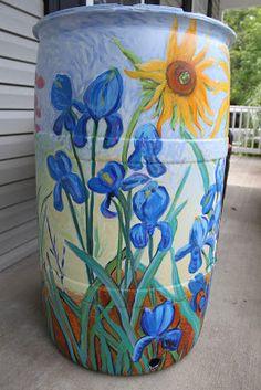 Garden Art - Van Gogh Inspired Sunflowers & Iris' Rain Barrel
