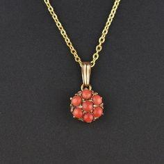 Coral Cabochon Flower Cluster Gold Pendant Necklace