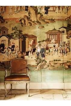 Hubert de Givenchy, en su mansión del Loira Chinoiserie Wallpaper, Chinoiserie Chic, Fresco, Chinese Wallpaper, Oriental Wallpaper, Tadelakt, World Of Interiors, Art Interiors, French Interiors