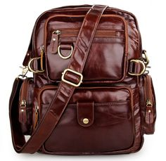 85d8e7b8efbc Aliexpress.com   Buy Baigio Men s Brown Backpack Vintage Multi Pockets  Genuine Leather Casual School Backpacks Travel Cowhide Laptop Bag Shoulder  Bag from ...