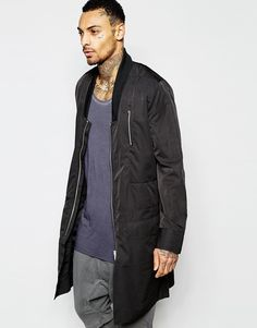 Image 1 of ASOS Bomber Jacket In Extreme Longline With Drop Collar in Black