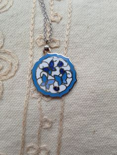 Cloisonne Pendant Necklace, Vintage Cloisonne Pendant Necklace, Blue Cloisonne Necklace, Butterfly Necklace, Vintage cloisonne,  N174 by DuckCedar on Etsy