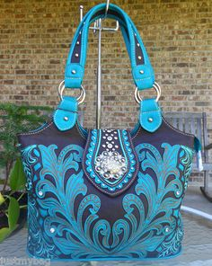 New 'Montana West' Embroidered & Crystal Designed Western Bag -Turquoise/coffee