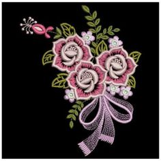 Wind Bell Embroidery Embroidery Design: Creative Rose 3.82 inches H x 3.06 inches W