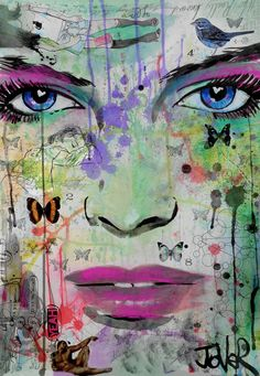 ARTFINDER: Butterfly effect by Loui Jover - I enjoy playing around with creating mixed media and faces, i add whatever takes my fancy after i have laid down the ink of the face, using pencil,chalk,goua...