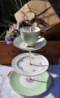 Green and pink vintage china cake stand