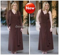 Wholesale Mother Bride - Buy Chiffon Sexy V-Neck Ruffles Ankle Length Coffee Plus Size Mother of the Bride Dresses 2013 New Cheap, $137.5 | DHgate